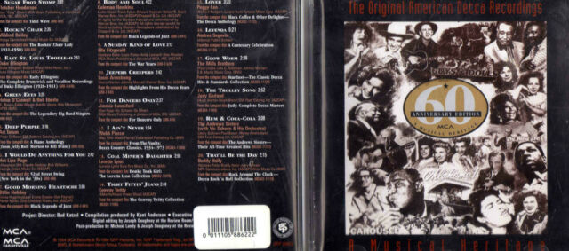 ORIGINAL AMERICAN DECCA RECORDINGS-OZ 20 TRK CD-JAZZ-BUDDY HOLLY-ART TATUM-ELLA