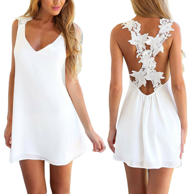Sexy Women V Neck Backless Lace Crochet Chiffon Summer Beach Mini Dress