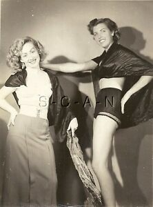 Original Vintage 1940s-50s Semi Nude RP- Brunette- Polka