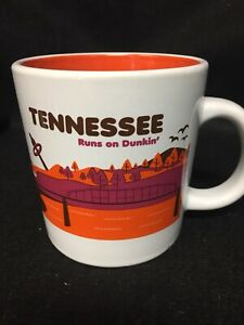 """Dunkin' Donuts Destinations Coffee Cup Mug """"Tennessee"""" Runs On Dunkin 2013 Excel"""