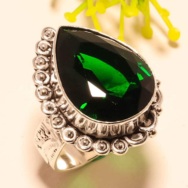 CHROME DIOPSIDE GEMSTONE 925 SILVER RING 8.5