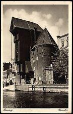 DANZIG Gdansk KRANTOR - schöne bräunl. AK gel. mit Feldpost 1940