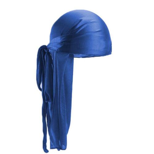 Men Women Turban Hat Doo Durag Rag Tail Headwear Headwrap Soft Silk Pirate Cap