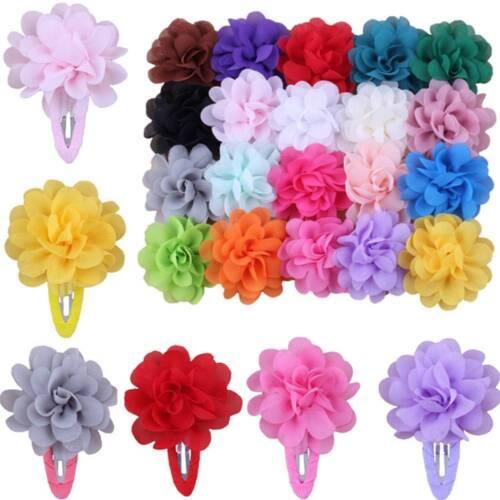 10Pcs Chiffon Flower Girls Hairclip Hairpin Barrette Headwear Hair Accessories