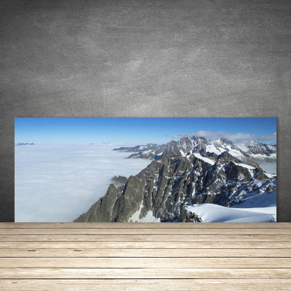 Crédence de cuisine en verre Panneau 125x50 Paysage Montagne Brouillard