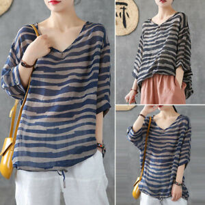 ZANZEA-Women-Striped-V-Neck-Casual-Baggy-Tops-Blouse-Ladies-Casual-Shirts-Tee