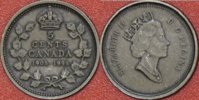 Antique Proof 1908-1998 Canada Silver 5 Cents From Mint/'s Set