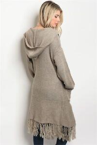 Love-Riche-Boho-Hippie-Fringe-Western-Wool-Blend-Hoodie-Sweater-Coat-Jacket-S-L