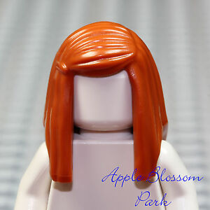 Lego Long Straight Female Hair x 1 Dark Orange for Minifigure