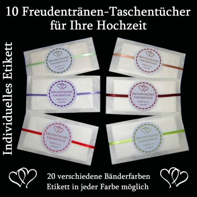 10 x Freudentränen-Taschentücher für Ihre Hochzeit - Freie Farbwahl - SATINBAND
