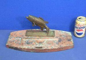 Vtg-Antique-Bronze-Fish-Marble-Base-Desk-Pen-Tray-ca-1900-1910-Trout-Austrian