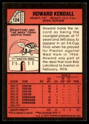 Topps Football Red 1977 124 Howard Kendall Birmingham City No B1