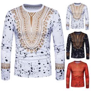 0075b9e3e Men Slim Fit Long Sleeve African Dashiki Print Muscle Casual T-shirt ...