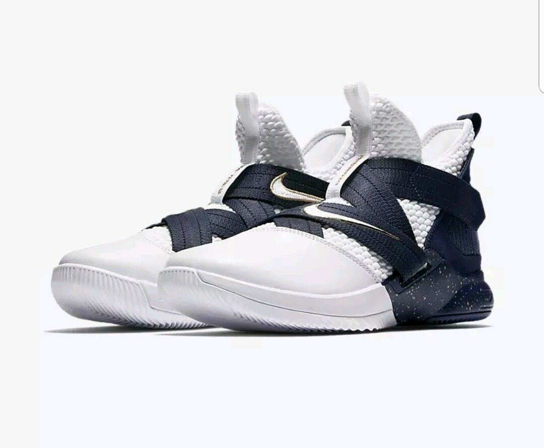 Nike Soldier XII SFG Men's White Midnight Navy Mineral Yellow 4054100 Size 9 NIB