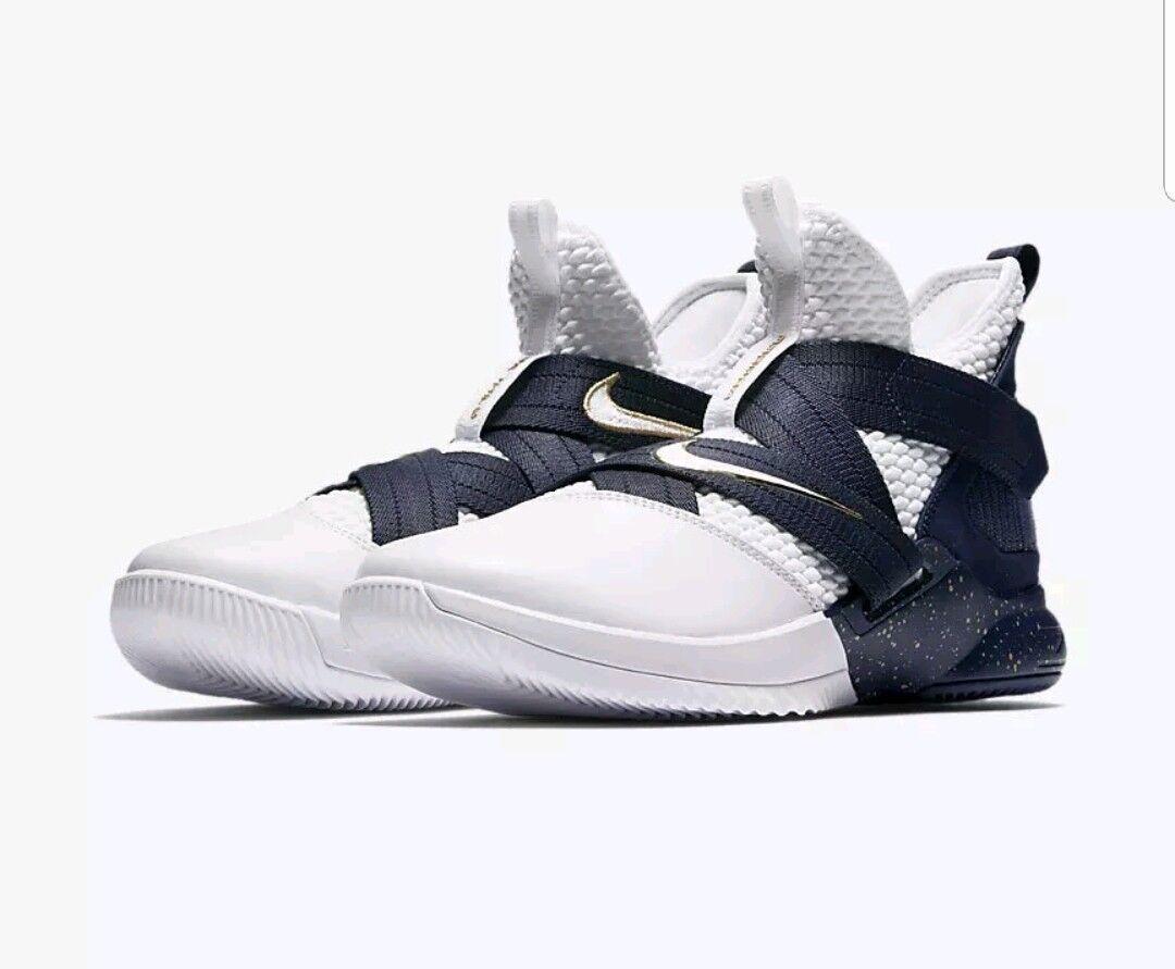 Nike Soldier XII SFG Uomo White/Midnight Navy/Mineral Yellow 4054100 Size 9 NIB