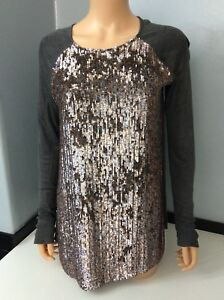Jumper 10 Sequin Grey Top Zoe Jordan 38 Women's Silk Uk Front 100 Size PnTxqwx