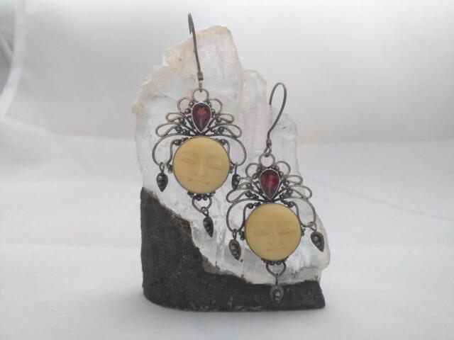 Vintage Garnet Carved Bone Earrings Moon Faces 925 Sterling Silver Chandelier