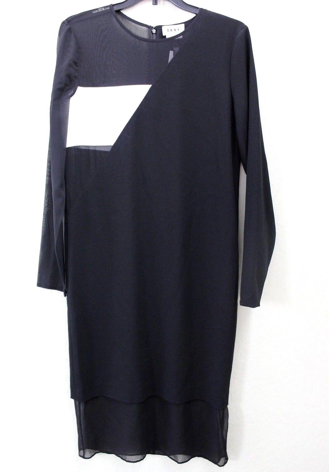 Dkny Negro blancoo Manga Larga de Color bloque malla  transparente súperposición de Seda Vestido Midi Talla P  online al mejor precio