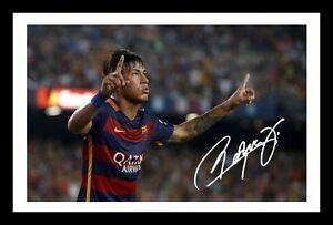 FC BARCELONA AUTOGRAPHED SIGNED /& FRAMED PP POSTER PHOTO NEYMAR