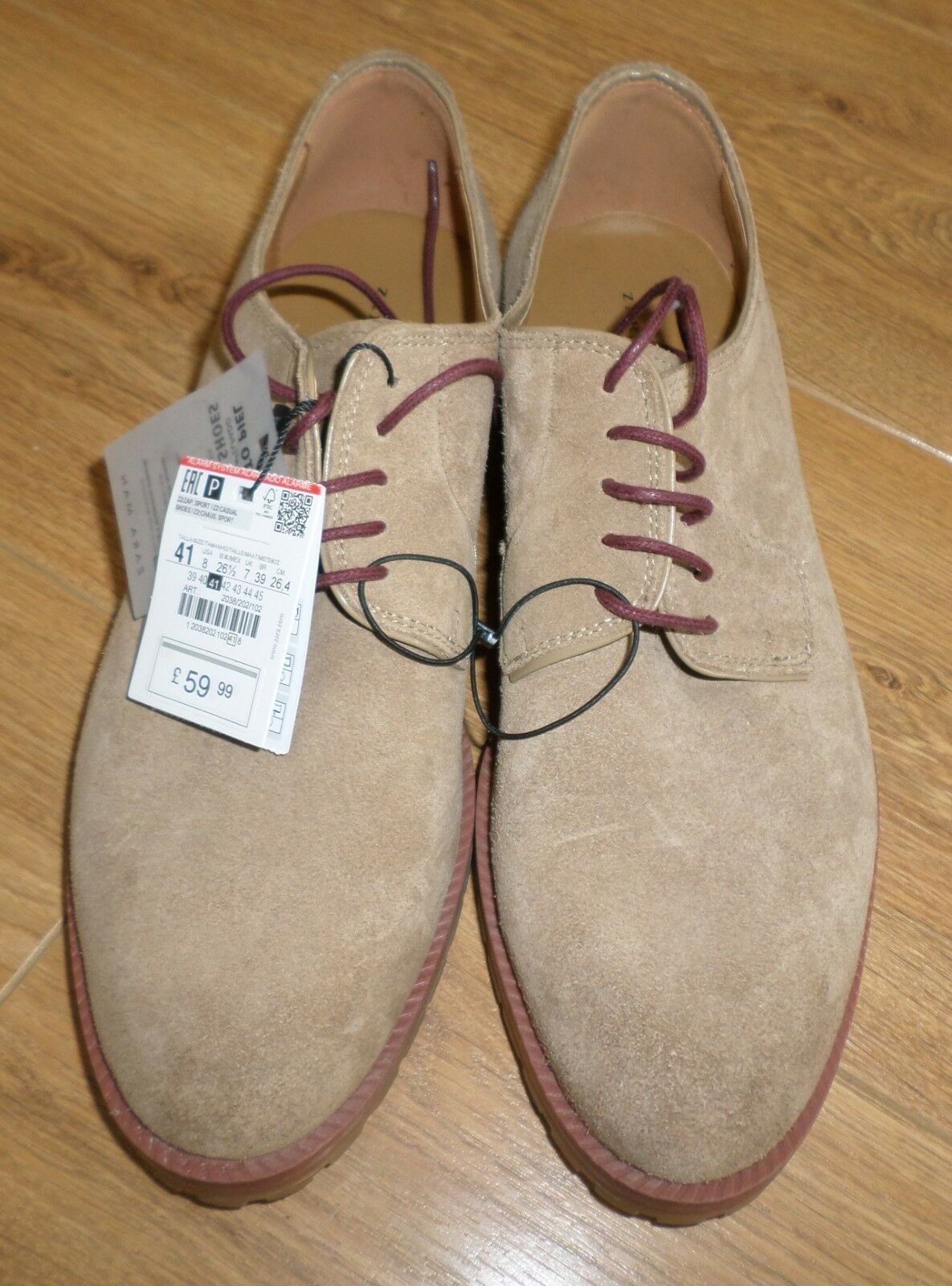 Mens Leather Suede Sand Colour Shoes 7 from Zara - Size 7 Shoes -New rrp.99 29f80b