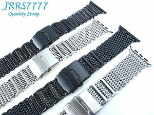 38mm 40mm Apple Watch Band Stainless Steel Silver Black Shark Series Adapter