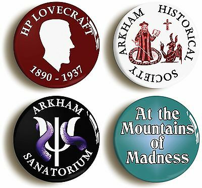 4 x ARKHAM HP LOVECRAFT BADGE BUTTON PINS (1inch/25mm diameter) CTHULHU MYTHOS