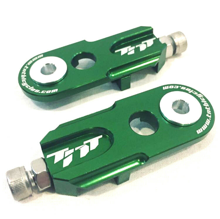 TNT Bicycles 3 8  BMX Chain Tensioners - Pair - w  6mm adapter - Green
