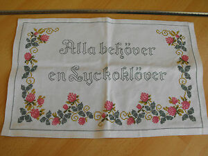 vintage Swedish hand-embroidered tapestry Everyone needs a lucky clover
