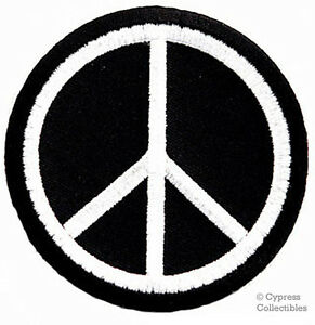 PEACE-SIGN-iron-on-patch-WOODSTOCK-SUMMER-OF-LOVE-black-EMBROIDERED-APPLIQUE
