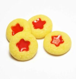 4 Dollhouse Miniature Jam Dot Cookies Doll Mini Food Bakery Cookie Biscuits