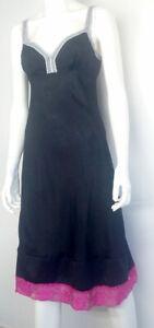 Abitino-donna-SETA-taglia-42-nero-abito-vestito-ampio-elegante-Made-in-Italy