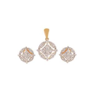 Pave-2-26-Cts-Runde-Brilliant-Cut-Diamanten-Anhaenger-Ohrringe-Set-In-14K-Gold