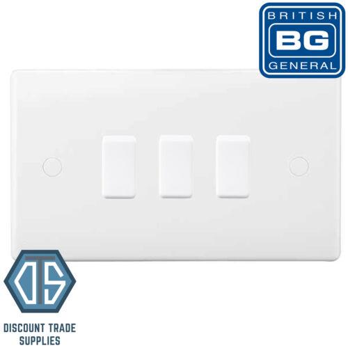 BG Blanc 3 Gang Interrupteur De Lumière En Double format Custom Grille