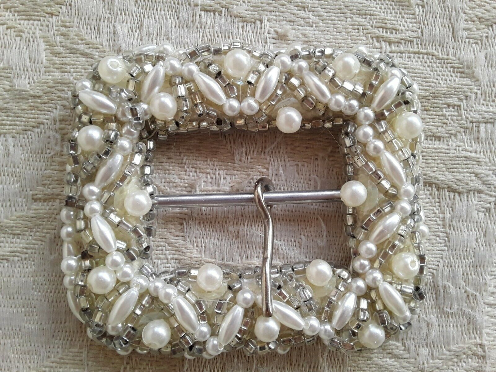 Vintage Pearl and Tiny Silver Beaded Embellished Belt Buckle Made in Hong Kong