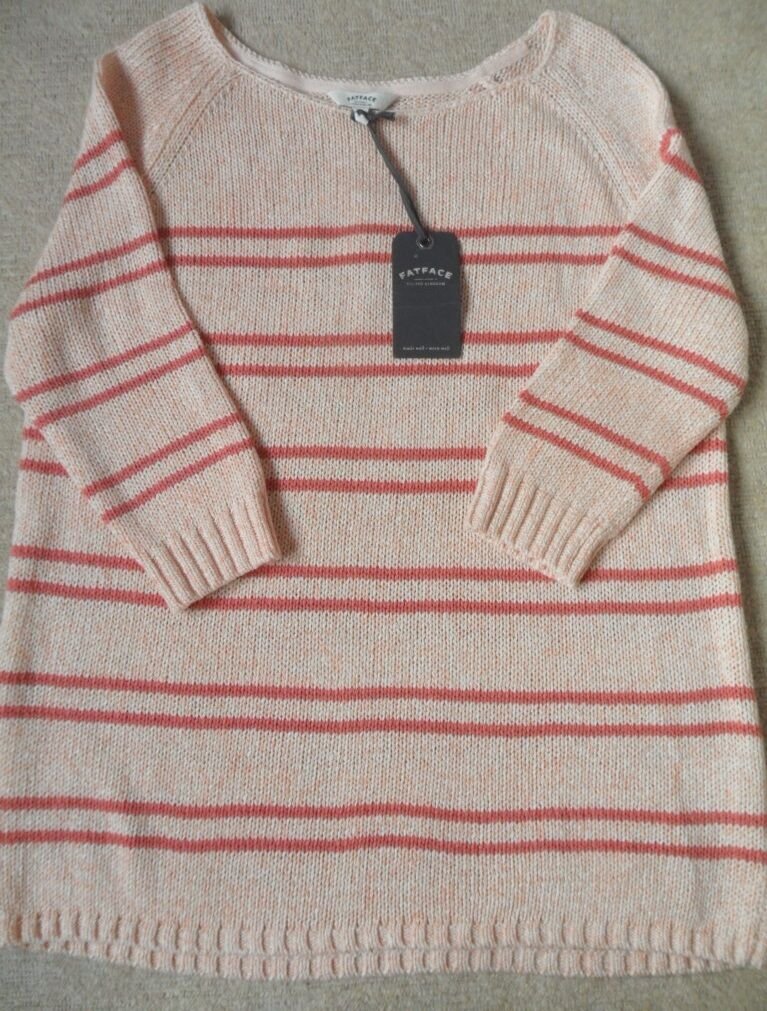 EX FAT FACE APRICOT MIX STRIPE PRINT COTTON BLEND MEDIUM KNIT JUMPER S-M