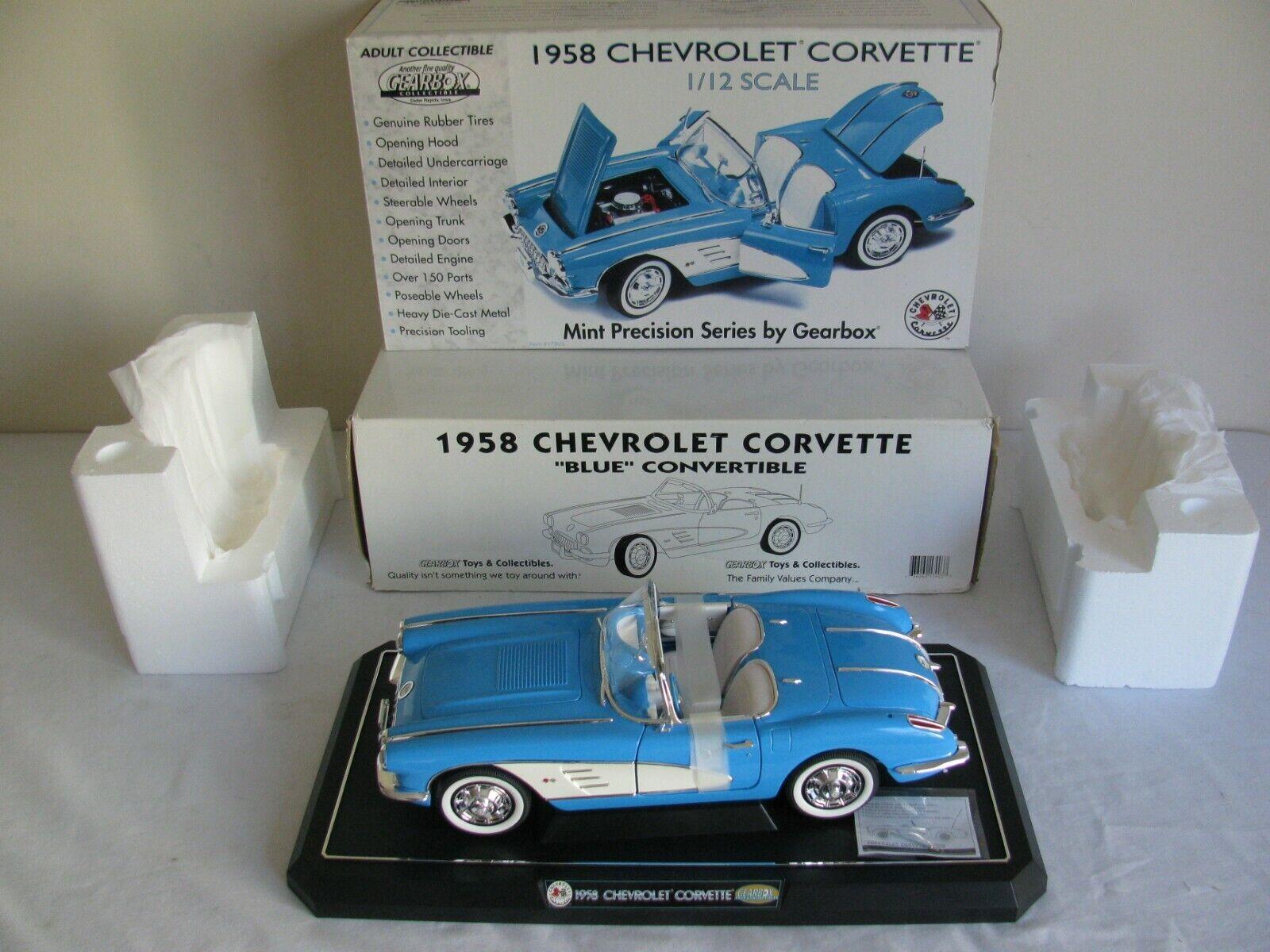 Boite de vitesses échelle 1 12 Bleu 1958 CHEVROLET CORVETTE  17903 NEW IN BOX