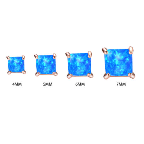 4//5//6//7MM Square Cut Blue Fire Opal Stud Earrings Rose Gold Filled Earrings Gift