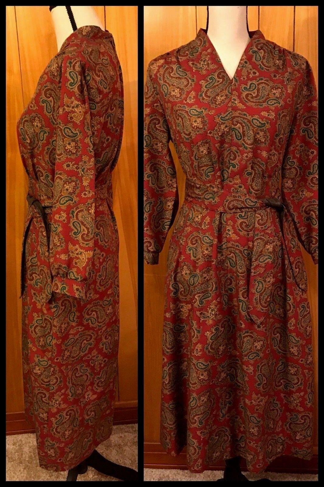 Vintage Paisley DRESS Shirtdress Secretary HENRY LEE Belt Dark Red Sz 12