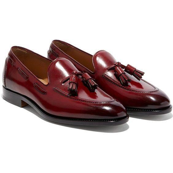Handmade Men Burgundy color leather Tassels shoes, Men burgundy loafer shoes