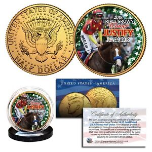JUSTIFY-2018-Triple-Crown-Horse-24K-Gold-JFK-Half-Dollar-Coin-RARE-TEST-ISSUE