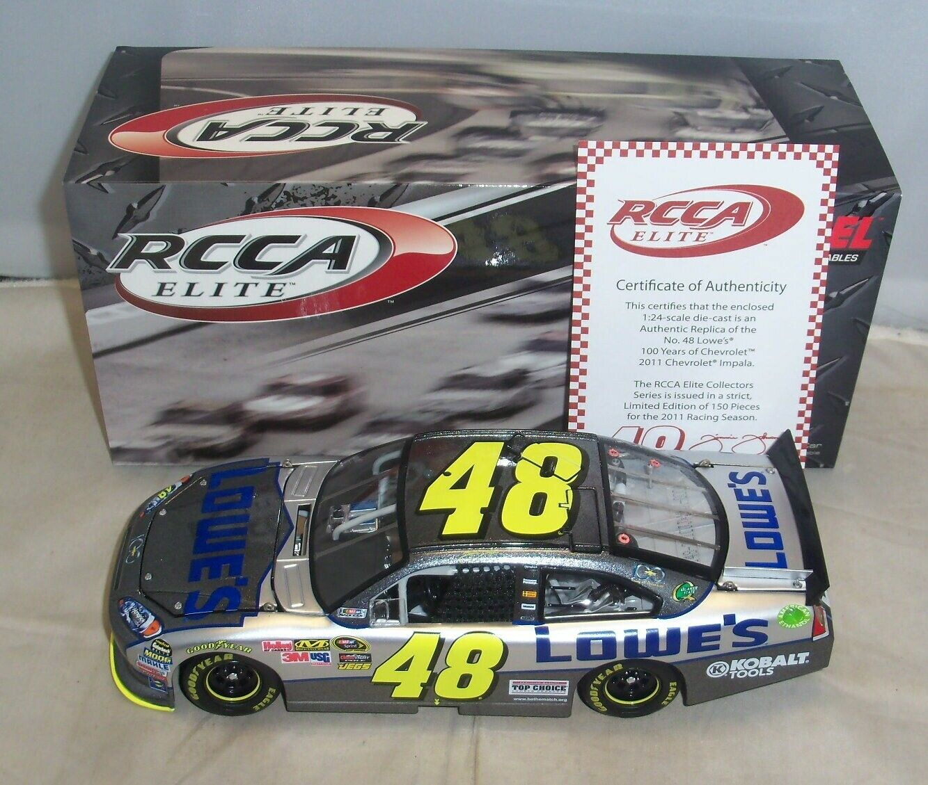 1 24 2011 ACTION RCCA ELITE  48 LOWES CHEVY 100TH ANN. JIMMIE JOHNSON SERIAL  11