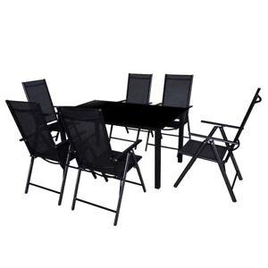 Sedie E Tavoli Giardino.Set Da Pranzo Da Giardino 6 Sedie E Tavolo In Vetro Alluminio Nero