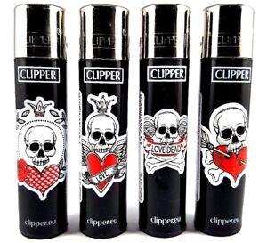 Clipper-Lighters-Set-Hearts-amp-Bones-Love-Skulls-Tattoo-Collection-x4-pcs