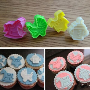 4pcs Kitchen 3d Baby Shower Theme Cookies Cutter Mould Cake Cookie
