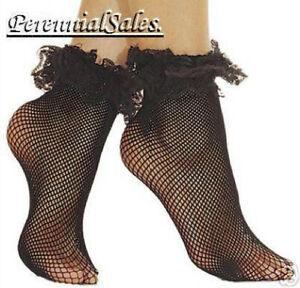 Fishnet-Lace-Ruffle-Trim-Socks-Ankle-Hi-Stockings-Goth-Black-or-Red-NWT-597