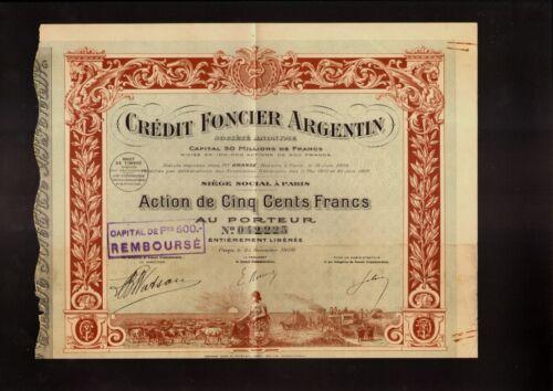 Credit Foncier Argentin 1920 old stock certificate ARGENTINE// BANK