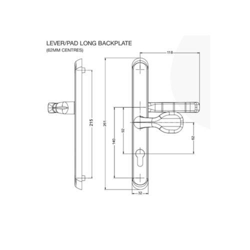 Poignées de porte Set PVC Chrome Laiton Noir Levier Pad Broche /& Vis 92 mm PZ