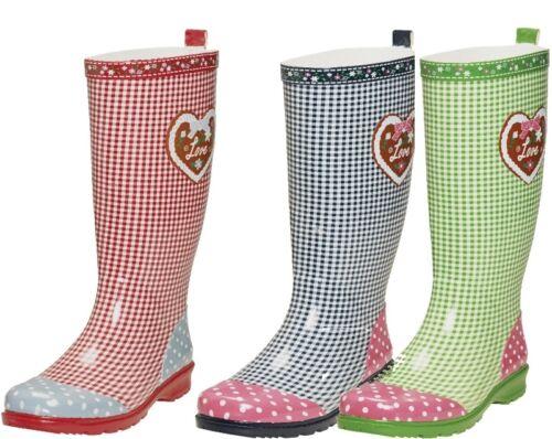 Gummistiefel Regenstiefel Damengummistiefel Playshoes 37-41 Landhaus Herz Schuhe