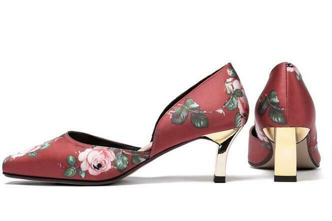 Casual Women Round Toe Block Heels Slip On Floral Floral Floral Wedge Heels Sexy shoes Spring 7ea485