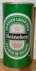 Straight Steel HEINEKEN Lager Beer can from HOLLAND for PURTO RICO (25cl) Empty